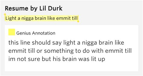 Check The Resume Lyrics by Light A Brain Like Emmit Till Resume By Lil Durk
