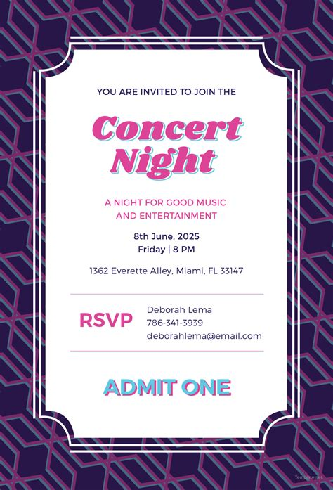 Free Concert Ticket Invitation Template In Adobe Photoshop Illustrator Microsoft Word Concert Invitation Template Free