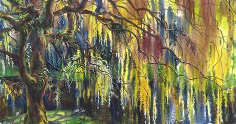 wild garden  watercolor willow tree enchantment