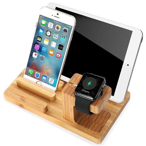 bamboo display stand charging holder apple iphone