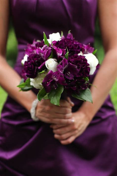 Wedding Bouquet Eggplant by Pinstripes Glamorous Flowers Purple Black Eggplant