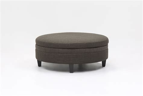 large fabric storage ottoman adler fabric large round storage ottoman living spaces