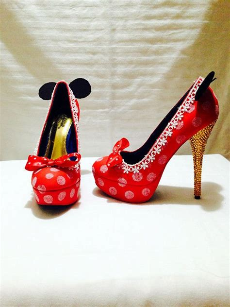 mickey mouse high heel shoes minnie custom rhinestone heels wedding prom