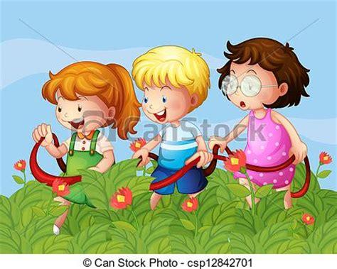 imagenes de jardines de niños animados vector clip art de ni 241 os en el jard 237 n ilustraci 243 n de
