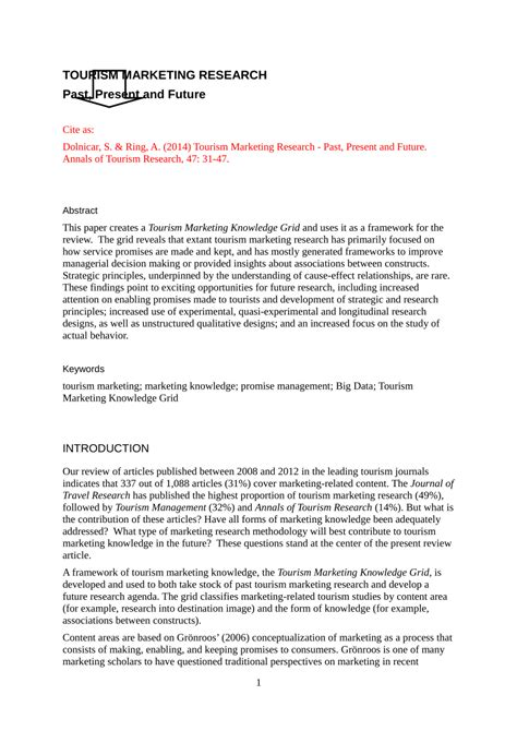 Tourism Marketing Research Papers by Tourism Marketing Research Past Present And Future