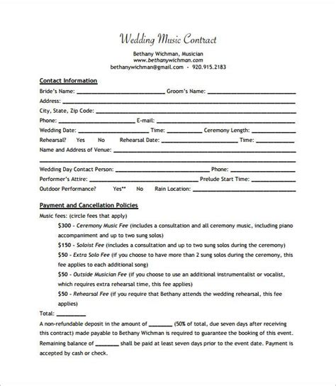 Wedding Band Contract Templates Dj Pinterest Wedding Band Contract Template