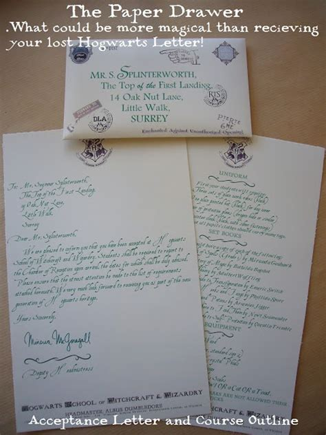 Hogwarts Acceptance Letter Hello Paper Moon The Paper Drawer Lost Hogwarts Letter Book Paper Lost And Hogwarts
