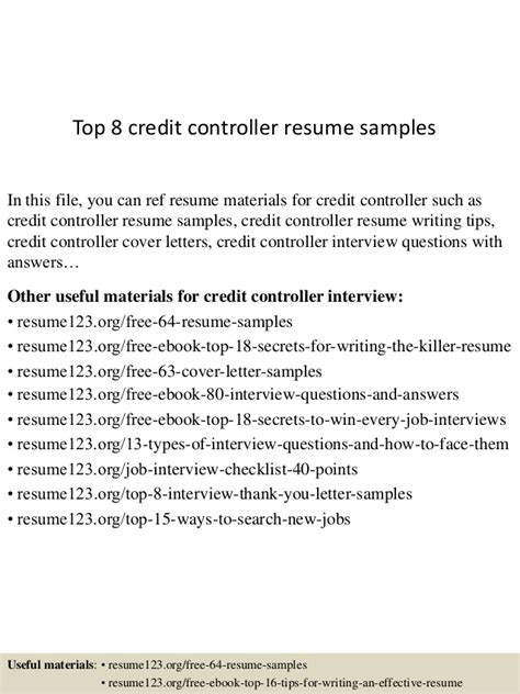 Credit Controller Sle Resume by Top 8 Credit Controller Resume Sles