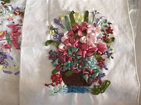 Flowers Bordir List selesai 3d bunga eropa secenic sulam pita 35x40 cm diy pita cross stitch dekorasi rumah di