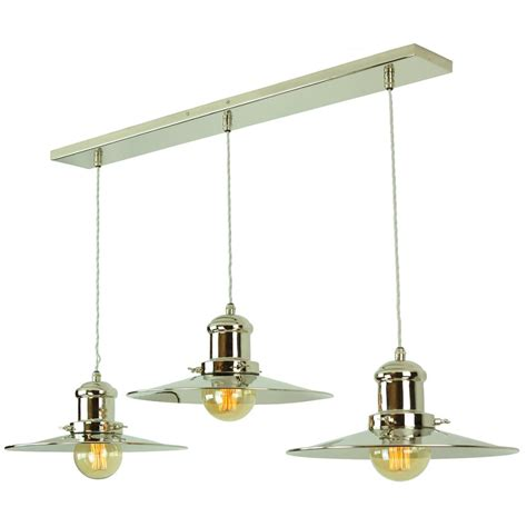 Island Pendant Lights Bar Ceiling Light With 3 Hanging Fisherman Pendants In Nickel