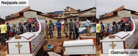synagogue church of all nations uganda police stuck with coffins dumped by angry traders at the