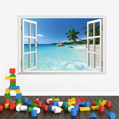 Beach Themed Wall Murals zon zee en strand muursticker muurstickerstunter