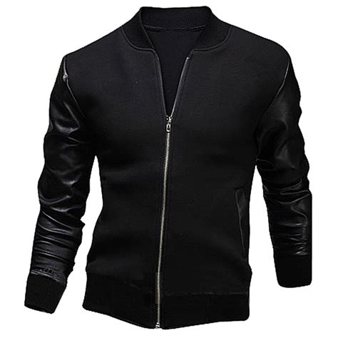Jaket Jiper Black List Grey 1 pu leather patchwork black gray jackets stand collar sleeve cool jacket