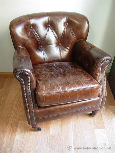 sillones antiguos precioso sillon chester de cuero o piel marro comprar