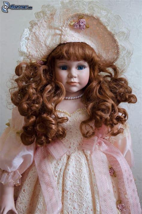 Dress Pink Curly porcelain doll