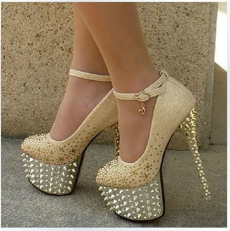 2014 fashion rivet high heels pumps rhinestone bridal