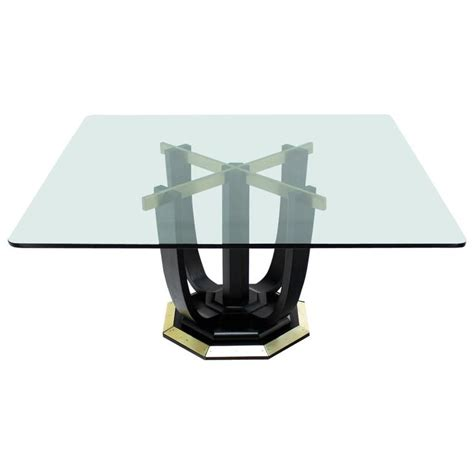 Glass Top Conference Table Large Square Glass Top Black Lacquer Brass Base Dining Or Conference Table For Sale At 1stdibs