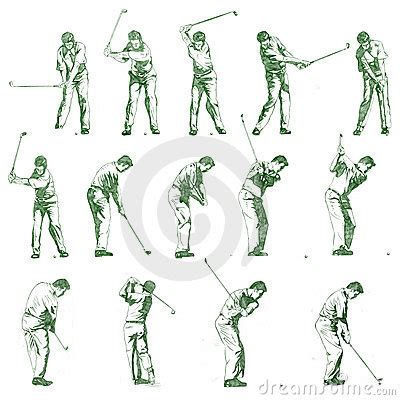 stages of a golf swing golf swing stages hand drawn illustration royalty free