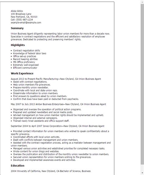 Union Business Sle Resume professional union business templates to showcase your talent myperfectresume