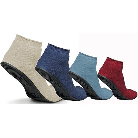 sock slippers with rubber soles medline terry cloth sure grip rubber sole small