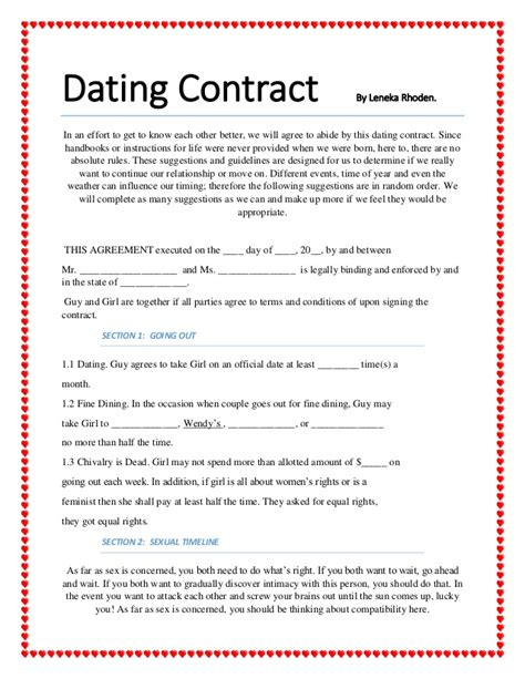 relationship contract template dating contract