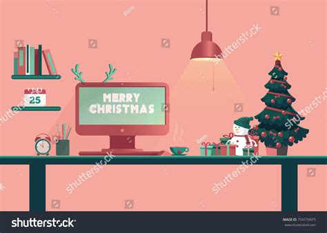 office desk christmas tree christmas office desk new year workplace stock vector