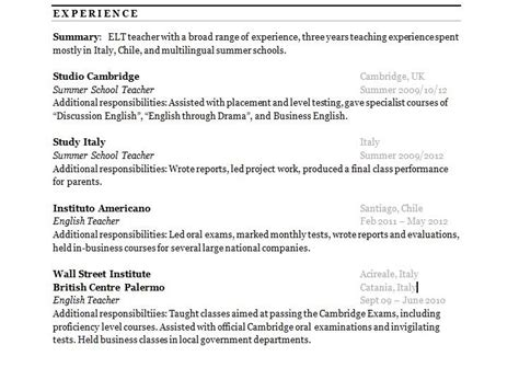 cv work experience section resume work experience order best resume gallery