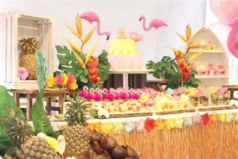tropical themes sweet table from a tropical hawaiian flamingo via