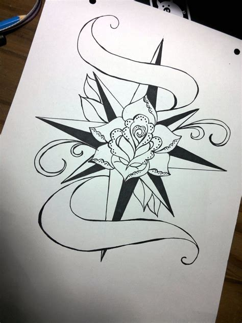 old english rose tattoos compass drawing www imgkid the image