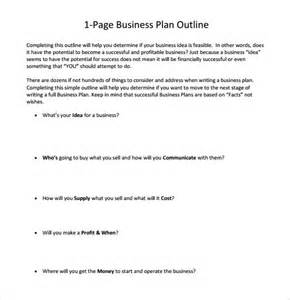 one page business plan template one page business plan sle 8 documents in pdf