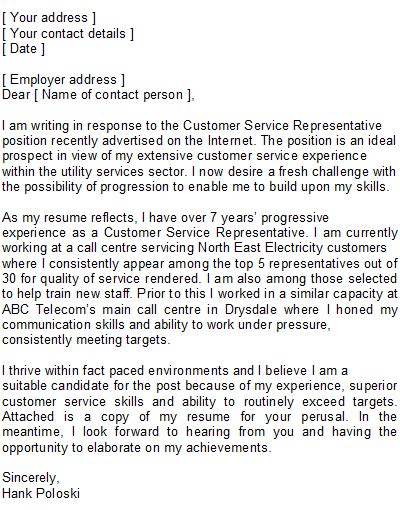 Email Cover Letter Exles For Customer Service Customer Service Representative Covering Letter Sle