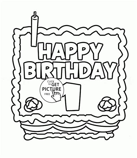 happy 1st birthday card coloring page for kids holiday