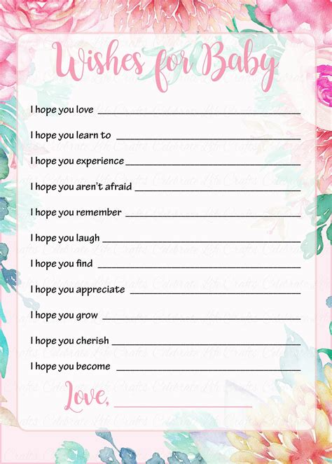 wishes for baby card templates wishes for baby shower activity baby shower theme