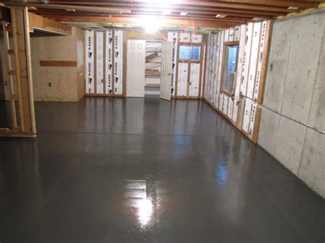 Glossy Grey Basement Floor Paint Glossy Dark Grey Basement How To Waterproof Basement Concrete Floor