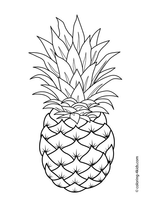 Pineapple Fruits Coloring Pages For Kids Printable Free Pineapple Coloring Page