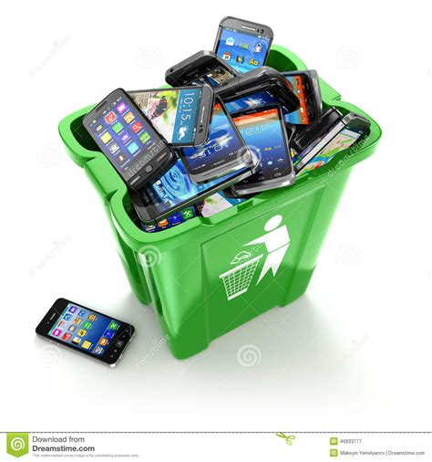 Wastepaper Basket Mobile Phones In Trash Can On White Background Utiliza