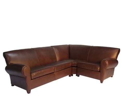 sectional with wedge manhattan leather 3 piece sectional with wedge pottery barn
