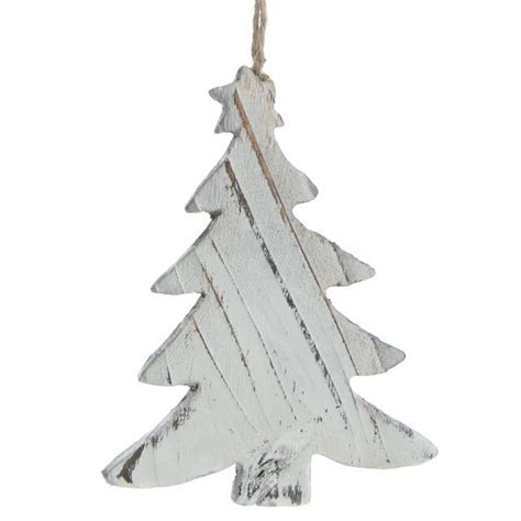 Rustic White Washed Wood Christmas Tree Ornament