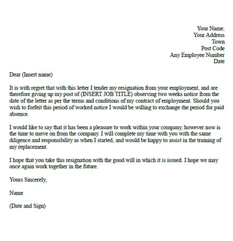 two week resignation letter sles formal resignation