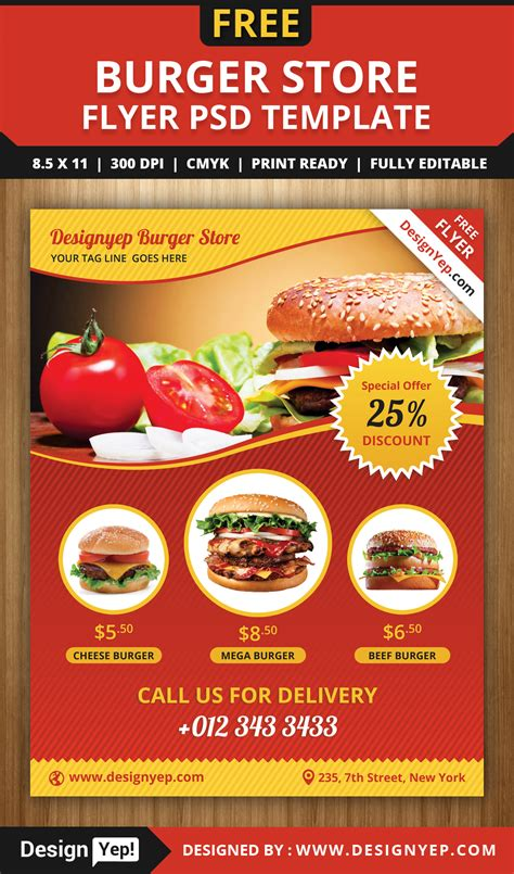 free food flyer templates free burger store flyer psd template 1988 desingyep free