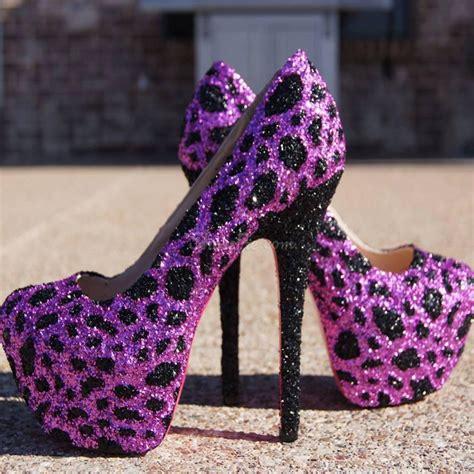 glaring sky high purple leopard stiletto heels shoespie