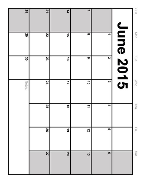 Blank Calendar For June 2015 June 2015 Calendar Printable Blank Calendar Template