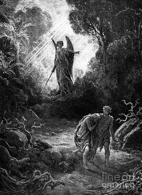 adam  eve leaving paradise drawing  gustave dore