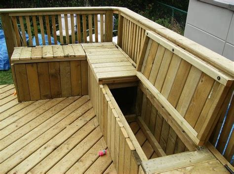 diy outdoor storage bench seat building a wooden deck over a concrete one toys deck bench seating and built in storage
