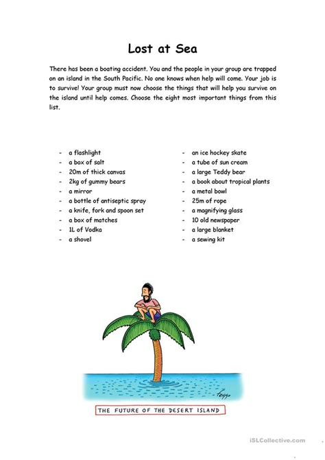 Lost At Sea Worksheet Answers by Lost At Sea Worksheet Free Esl Printable Worksheets Made