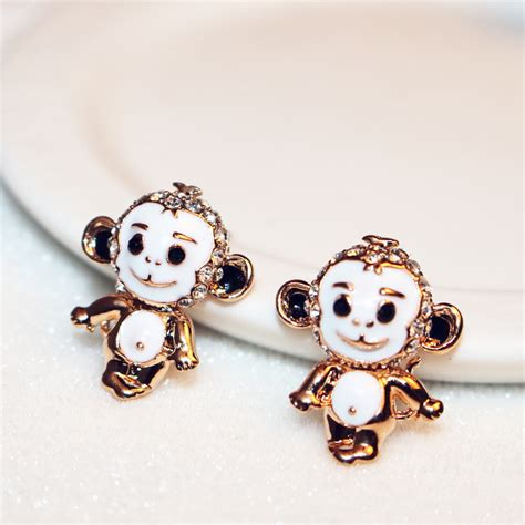 compare prices on gold monkey earrings shopping