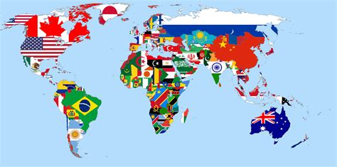 colors of the world world map with flags