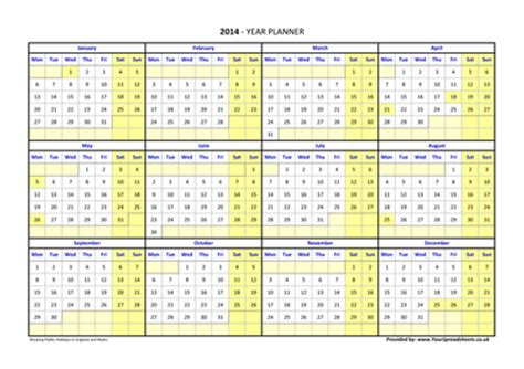 printable a4 year planner 2014 2015 year planner