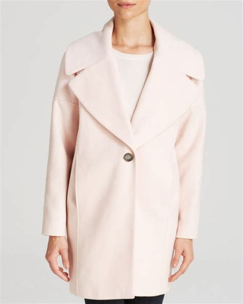 light pink cocoon coat calvin klein cocoon coat in pink blush pink lyst