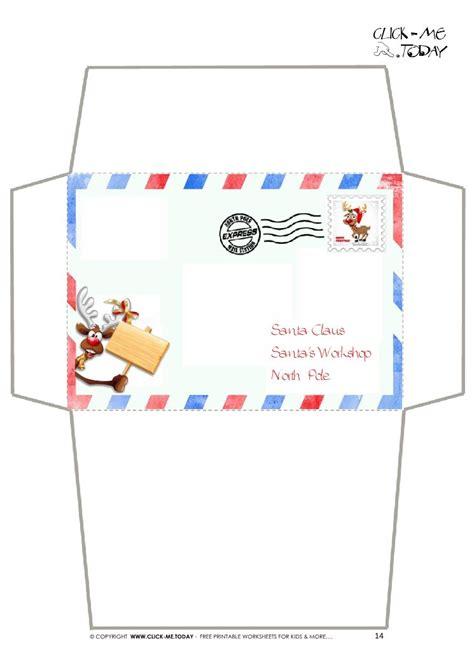 free santa envelope template craft envelope letter to santa claus border reindeer 14
